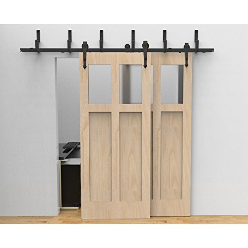 HomeDeco Hardware Antique Roller Rustic Black Bypass Sliding Double Barn  Door ...