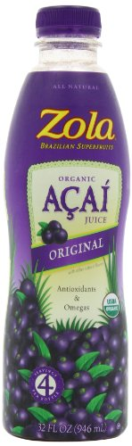 Zola Brazilian Superfruits Acai Original Juice, 32-Ounce Bottles (Pack of 8)