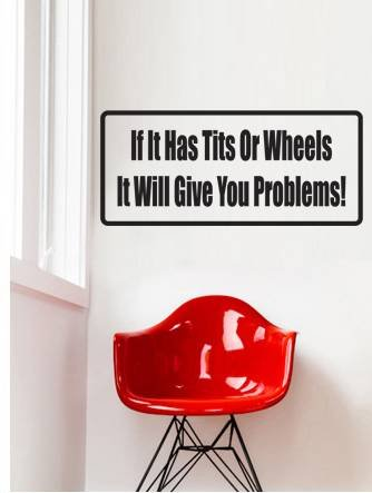 Decal - Vinyl Wall Sticker : If It Has Tits Or Wheels It Will Give You Problems! Quote Home Living Room Bedroom Decor - 22 Colors Available Size: 4 Inches X 16 Inches front-470945
