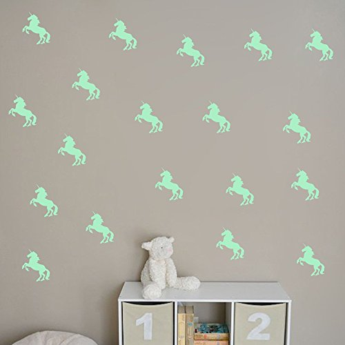 ufengke-10-pcs-Unicorn-Wall-Decals-Fluorescence-Stickers-Glow-in-The-Dark-Living-Room-Bedroom-Removable-Wall-Stickers-Murals