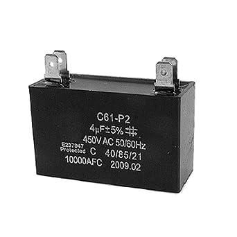 C61-P2 50/60Hz 4uF 450V AC Motor Run Capacitor Black
