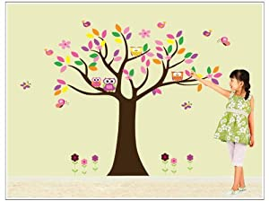 OneHouse Colorful Tree with Owls Birds and Flowers Wall Decal Tree Wall Art by OneHouse