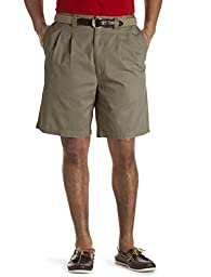 Harbor Bay Big & Tall Waist-Relaxer Pleated Twill Shorts (50 Long, Olive)