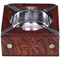 Worthy Shoppee Wooden Antique Hand Carved Ashtray With Brass Inlay