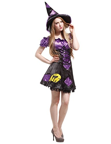 LaLaMa Women's Halloween Witch Costume Adult Party Cosplay Babydoll Dress