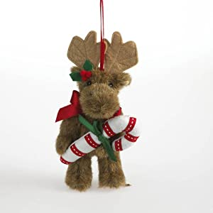 Boyds Bears Mooselmint Moose with Candy Cane Plush Christmas Ornament