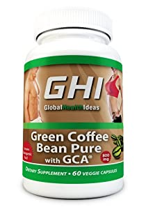 GHI Pure Green Coffee Bean Extract Supplement with 800mg Max Ultra Formula 50% Chlorogenic Acid (only 2 capsules/day) All Natural Organic Weight Loss Diet Pills are Made in the USA in a FDA Registered and GMP Certified Facility 100% Money Back Guarantee
