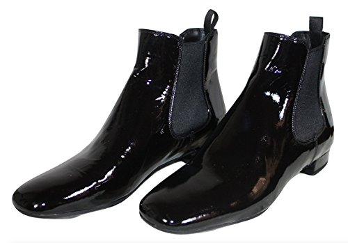 Prada Womens Chelsea Patent Leather Boots Black Size 36.5