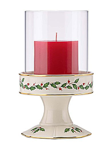 Lenox Holiday Pillar Candle Holder with Glass Shade