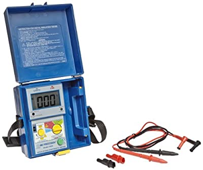 B&K Precision 308A Digital Megohmmeter Insulation and Continuity Tester, 250/500/1000V Test Voltages, 2,000 Megohms Insulation Resistance, 2,000 Ohms Low-Resistance, 600V Voltage