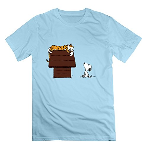 Geek Calvin And Hobbes Tiger Sleep On Doghouse Snoopy Men's T-shirt SkyBlue Size XXL (Tablet Daewoo compare prices)