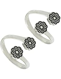 Silver ICE Flower Shap Antique 925 Sterling Silver Toe Ring For Women