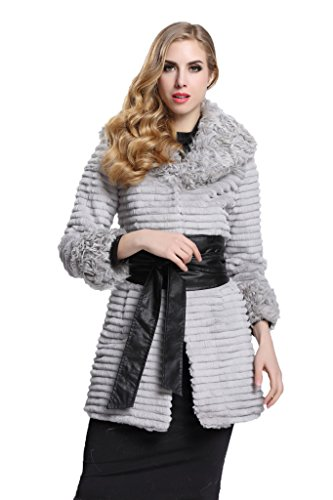 [Topfur Women's Real Fur Coat Rabbit Fur Nipped Waist Jacket US 16] (Faux Chain Hooded Costumes)