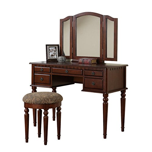 Vanity Set with Mirror and Stool Vintage Antique Makeup Dresser for Women Table Drawer Organizer Bedroom Furniture… (Cherry) 2