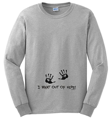 I Want Out Of Here Funny Maternity Themed Long Sleeve T-Shirt 4Xl Ash front-720586