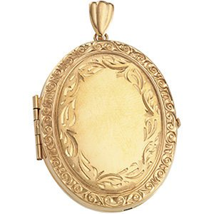 14k Yellow Gold Victorian Edged Border Oval Locket
