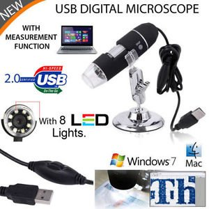 50-500X 2MP USB 8 LED Light Digital Microscope Endoscope Camera Magnifier zoom