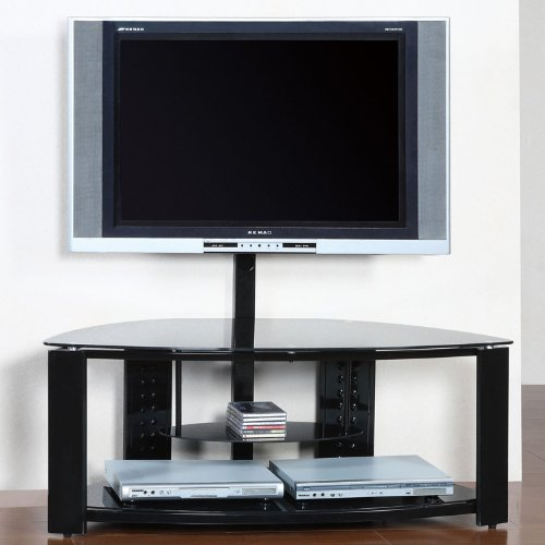 Powell 2 shelf corner flat panel tv stand with post and for Best tv stands review