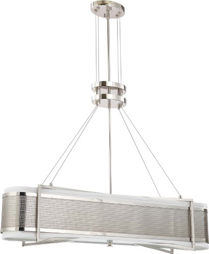Nuvo Lighting 60/4335 Four Light Diesel Island Pendant with Slate Gray Fabric Shade/Frosted Diffuser, Polished Nickel