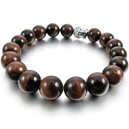 [Men Women's 10mm/12mm Alloy Bracelet Link Wrist Agate Buddha Mala Beads Elastic Brown Silver] (1970s Tennis Costume)