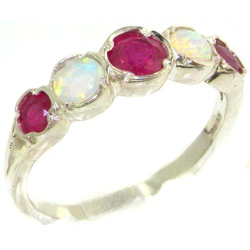 Genuine Solid Sterling Silver Natural Ruby & Fiery Opal Womens Eternity Ring - Size 11.75 - Finger Sizes 4 to 12 Available - Suitable as an Anniversary ring, Engagement ring, Eternity ring, or Promise ring