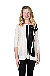 Velvet by Graham and Spencer Halima High Low Striped Sweater, Milk, XS