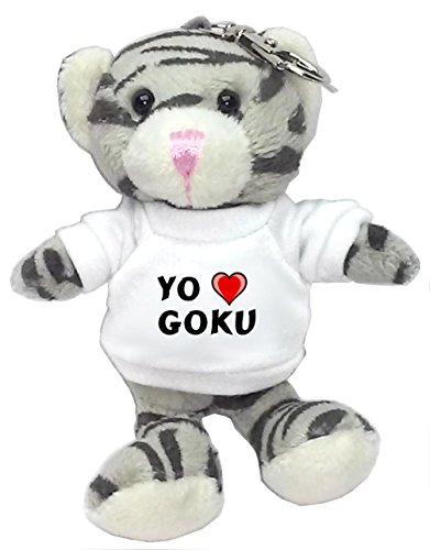 Gato-gris-de-peluche-llavero-con-Amo-Goku-en-la-camiseta-nombre-de-pilaapellidoapodo