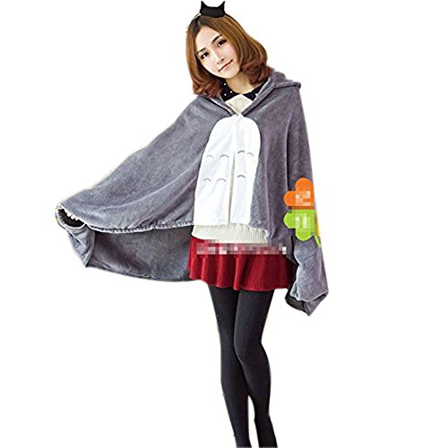 Cosplay My Neighbor Totoro Shoulder Cape Shawl Cloak Soft Plush Costume Grey, 150cm*70cm - 1