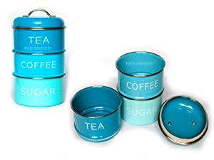 Retro stacking blue tea coffee sugar storage canisters jars kitchen home - Tea coffee sugar stacking canisters ...