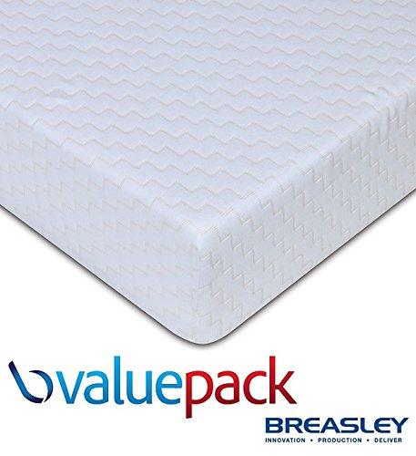 Breasley ValuePack Kaltschaum Matratze, 16 cm tief (2,5 cm)), wattiert, abnehmbarer Bezug, waschbar, klein, doppelt, 122 cm (cm