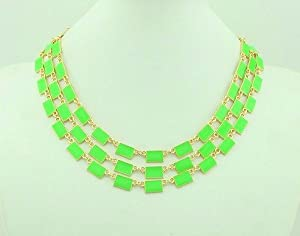 New Arrival 3 row park guell bib Necklace,bubble Bib Necklace(wiipu-B37) (green)