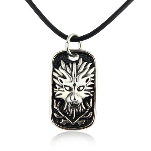 Merdia 316L Titanium Stainless Steel Man's Dragon Embossment Pendant Genuine Leather Necklace 20″