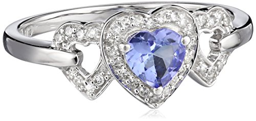 White-Gold Diamond and Tanzanite Heart Ring (0.125cttw, G-H Color, I2-I3 Clarity), Size 6