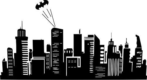 Batman Inspired Gotham City Skyline Vinyl Wall Decal (22.5