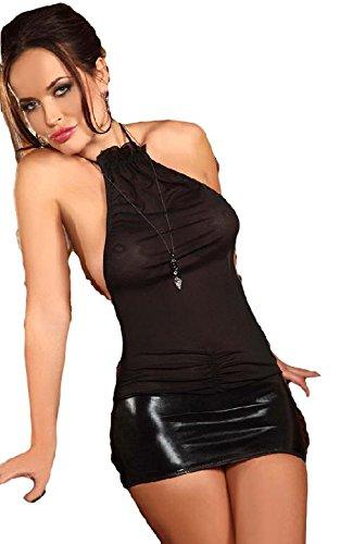Wetlook/Tüll Kleid mit aufregender Schnürung am Po