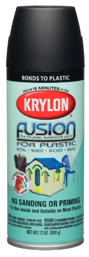 Krylon K02519000 Fusion For Plastic Aerosol Spray Paint, 12-Ounce, Flat Black image