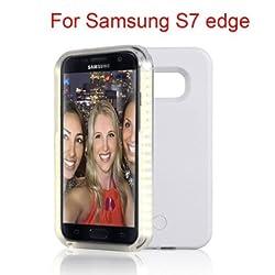 Samsung Galaxy S6 S6 Edge Plus S7 S7 Edge LED lighted Selfie Illuminated Cell Phone Case for s7 edge+ (S7 Edge white)