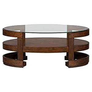 Jofran avon oval wood coffee table in birch for Coffee tables amazon