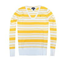 Tommy Hilfiger Women V-neck Striped Pima Cotton Pullover Sweater (M, White/yellow)