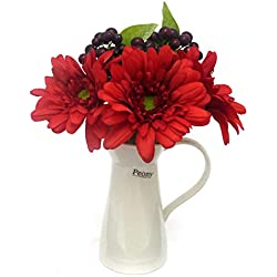 Peony 6452 Gerberas and Purple Berry Artificial Floral Arrangement in a White Ceramic Jug - Red