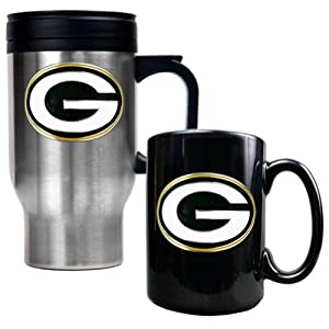 Green Bay Packers Stainless Steel Travel Mug & Black Ceramic Mug Set by Great American Products