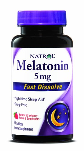 Natrol Melatonin 5mg ,Natural Strawberry Flavor and Sweeteners, 90 Fast Dissolve Tablets