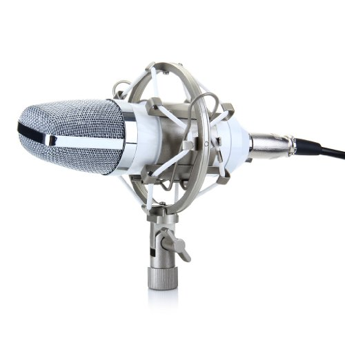 Excelvan® Condenser Sound Recording Microphone + Mic Shock Mount, Ideal For Radio Broadcasting Studio, Voice-Over Sound Studio, Recording And So On