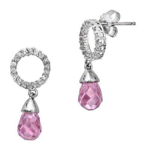 Bridesmaid C.Z. Diamond Dangling Pink Briolette (.925) Sterling Silver Earrings