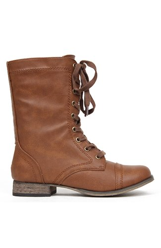 Breckelles Georgia-21 Lace Up Military Combat Boot - Tan PU