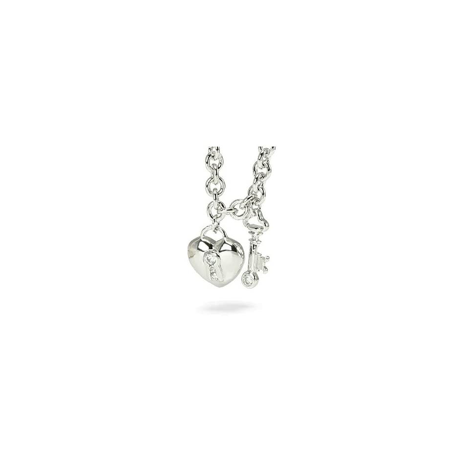 Heart Key Sterling Silver CZ Charm Pendant Necklace
