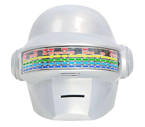 Daft Shining Punk Helmet Voice Control LED Lights Robot Adult Full Head PVC Mask