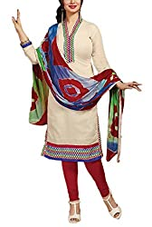 Rudra house Women's chanderi cotton unstitched dress material(PKR-1005 off white and multi free size)