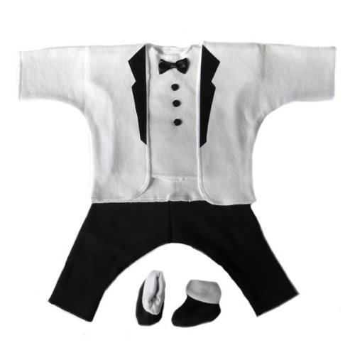 White and Black Baby Tuxedo Suit, Newborn 0-3 Months to 12 lbs