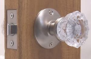 A very affordable Fluted Crystal Glass & Brushed Nickel Passage Door Knob Sets for Modern Doors+includes Our Original Wood Adapters to install in modern pre-drilled doors or replacement set for older doors.